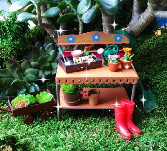 Gnome Garden: Fairy Garden Potting Bench Miniature By MiniatureFairyDreams