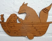 Illustrated Wall Plaque   Friends in a Boat - Wood