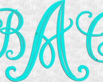 Instant Download Embroidery Machine Designs Font Monogram Alphabet Fancy Elegant Intertwined  2 sizes 52 Files ART Bernina