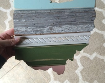 READY TO SHIP Barnwood Ohio LIght Coral Mint and Green