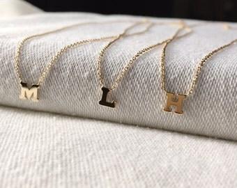 14k gold letter necklace