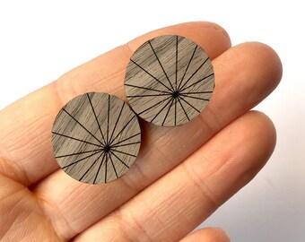 Prism sun rays (LARGE) - wooden stud earrings midcentury modern - jewellery - laser cut wood accessory