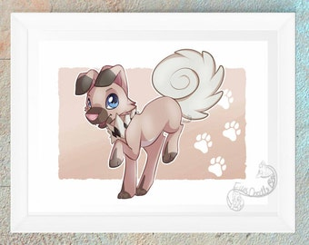 Pokemon Rockruff Poster Print Picture Video Game Geeky Nerd