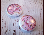 1 inch DONUT sprinkles pin back buttons rockerbyebuttons donut be sad and adulting is lame