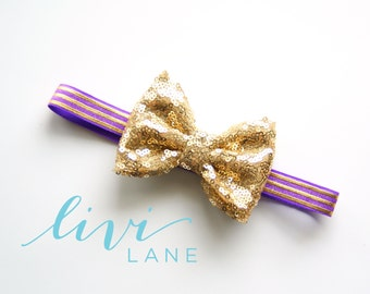 6-12 Months (15 inches): Mini Sparkle Gold bow on Purple Gold elastic. FINAL SALE