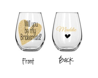 Will you be my bridesmaid wine glass? wedding party stemless wine glass, personalized wedding party champagne glass, wedding party gift box