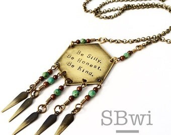 Be silly, be honest, be kind necklace in bronze with Picasso glass detail