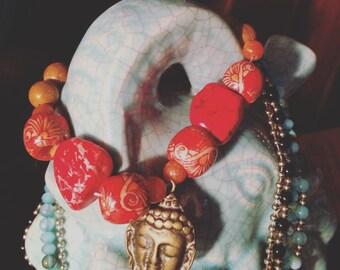 Magnesite + Goddesses Charm + Jasper Bracelet