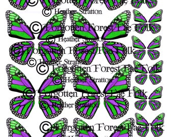 Green & Purple monarch butterfly wings