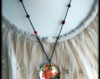 Handmade decoupaged double-sided red roses on sugar spoon pendant
