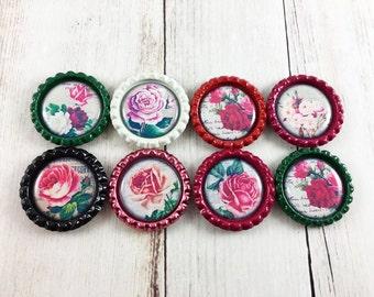 Rose Magnet Set, Refrigerator Magnets, Kitchen Magnets, Party Favors, Fridge Magnets, Bottle cap Magnets, Set of Magnets , Locker Magnets,
