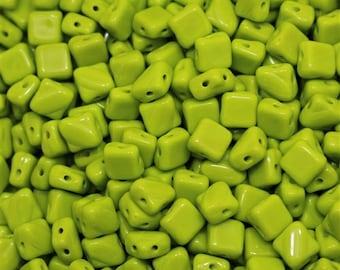 Opaque Olivine Silky Diagonal Beads (30)