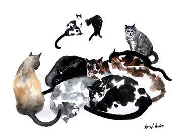 Sleepy cats - original watercolor painting