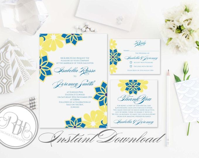 Tropical Island Wedding Invitation-Information Card-Reply Card-Templates-INSTANT DOWNLOAD-DIY Editable Text-Tropical Hawaiian-Victoria