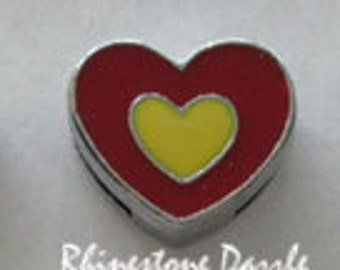 Red Heart with Yellow 8mm Slide Charms, Heart Slide Charm, 8mm Slide Charms, DIY Personalized Jewelry, Silver Heart Slide Charm, Qty 1-5pc