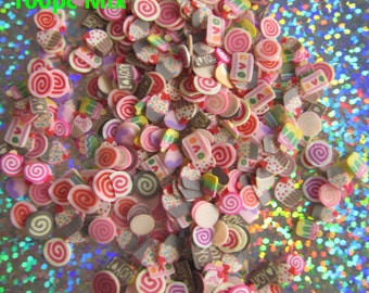 100pcs Sweet Dessert Polymer Clay Slices, Fine Slices for nail design, nailart, nail decoration, 3D nailart, fimo slices, polymer slices