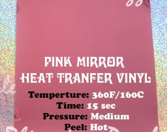 "Pink heat transfer mirror film, 9""x12"" Heat Transfer Vinyl Sheet, Iron on vinyl, transfer film vinyl, shiny mirror metallic transfer vinyl"