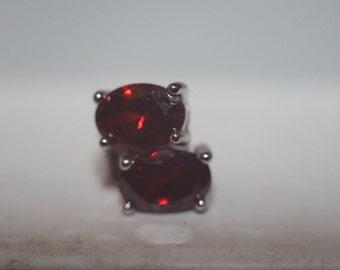 Handmade jewelry/RedGarnet 2 styles set in sterling silver earring stud real stone