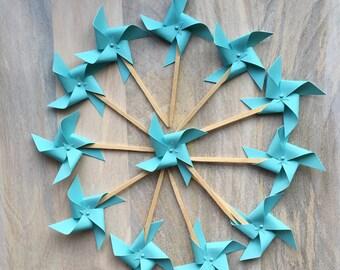 Aqua Blue Pinwheel Cake Pick/Aqua Blue Pinwheel Cupcake Topper/Wedding Cake Topper