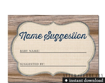 """Name Suggestion Cards 4x3"""" (6 Per Page) // Rustic Country Brown Wood Farm Boy Baby Shower Games Printable // INSTANT DOWNLOAD No.709NAVY"""