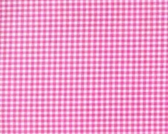 Michael Miller Tiny Gingham fabric in rasberry hot pink