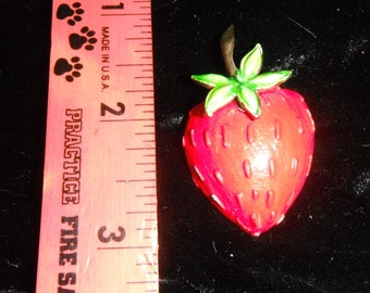 Enamel Strawberry Pin,Gold Tone,Large Berry