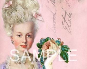 Fabric Art Quilt Block - Marie Antoinette - 12-1394  FREE Shipping