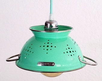 Colander Pendant - Kitchen Pendant Light - Kitchen Colander - Kitchen Light Fixture - Unique Lighting