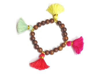 Fiesta Tassel Robles Wood Bead Stretch Bracelet