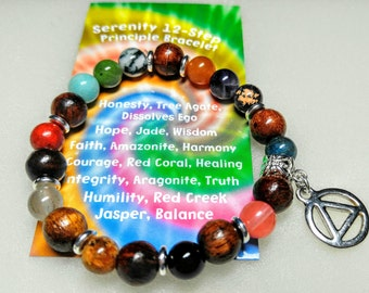 Recovery 12-Step Principle Bracelet with Gemstones