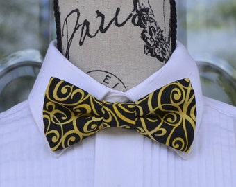 Lemon Swirl Bow Tie - Yellow Swirl on Black  (Infant - Adult)  Graduation - Weddings - Special Occasions