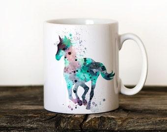 Horse Mug Watercolor Ceramic Mug Unique Gift Bird Coffee Mug Animal Mug Tea Cup Art Illustration Cool Kitchen Art Printed Horse