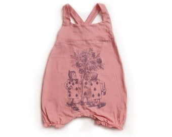 Baby Girl Overall in Pink - Alice in wonderland - The Playing Cards Purple print