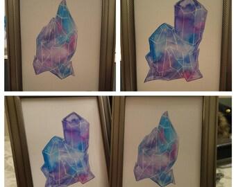 Pair of framed watercolor crystals,  night sky, originals not prints
