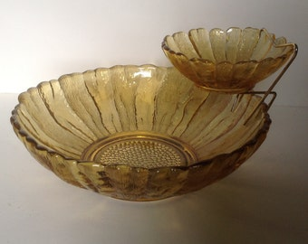 Mid Century Gold / Amber Chip and Dip Bowl, Anchor Hocking