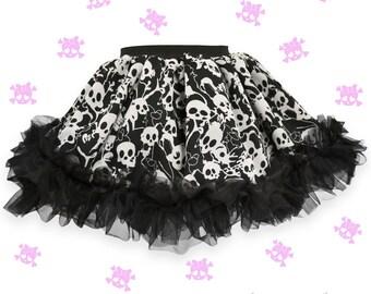 Skull chiffon Flirty Skirt with black chiffon ruffles for Baby Girl, Ruffle Infant Skirt, Toddler tutu, Party Skirt