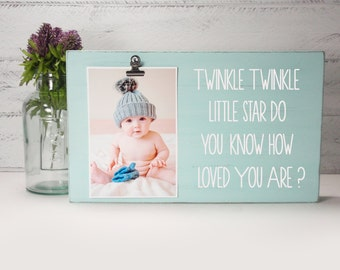 Wood Block Baby Photo Holder- Twinkle Twinkle Little Star- Wood Block Nursery Decor-Baby Gift-Shower Gift-Birthday Gift-Country Decor