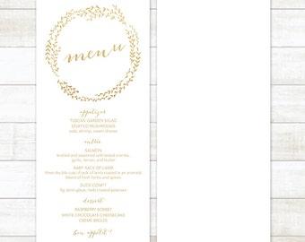gold white wedding menu, gold glitter wedding menu, gold wreath wedding menu, wedding menu printable, custom wedding menu
