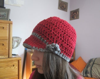 Crocheted hat with brim