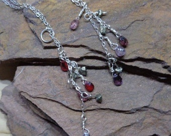 Spinel drop and pyrite chip necklace with a sterling silver chain