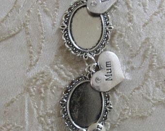 Ivory & Crystal Vintage Inspired Triple Photo Frame Charm/Wedding/Bridal/Bouquet