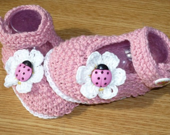 Pink, Crochet Baby Shoes, Crochet Baby Booties, Crochet Baby shoes, Crochet Baby Baby girl Shoes, Baby Shoes, Lady bird