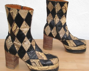 Vintage 70s glam rock platform boots Gr. 43 / snake