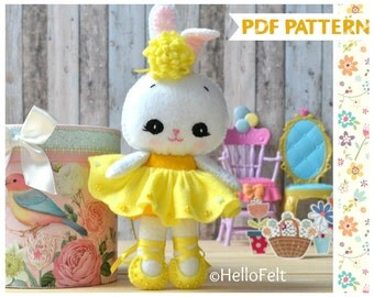 PDF PATTERN: Usagita ballerina, Felt Doll Bunny Sewing Pattern, Doll Pattern. Plush Pattern.