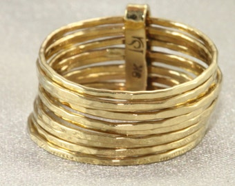 Hammered Skinny Rings, Set of 10 Ring, 9K  Gold, 10 Hammered Stacking Ring Set, Handmade, Solid 9K Yellow Gold, Birthday gift, Yellow Gold