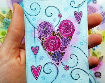 Mini Floral Heart Print - ACEO size