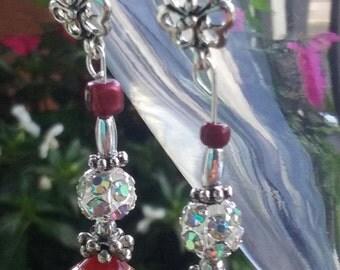 Red Scarlet dangle earrings set