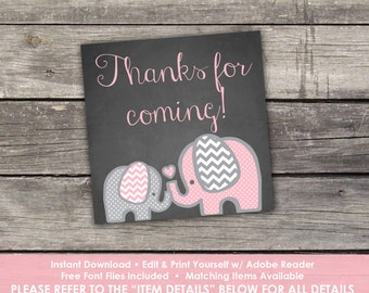 "Pink Elephant Baby Shower Thank You Tags - Edit Yourself - 2"" Thank You Tags for Baby Shower - Girl Elephant Thank You Tags - Baby-103"