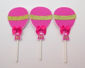 Hot pink hot air cupcake toppers