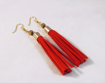 RED SUEDE Apache Earrings